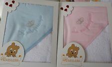 Accappatoio Prima Nascita Neonato Neonata rosa cielo con Triangolo 100% COTONE