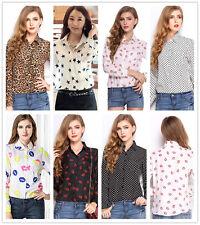Women Summe long Sleeve chiffon Shirt Top Blouse Casual Button Tops