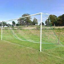 Green & White Striped Full Size Football Goal Nets - [Net World Sports]