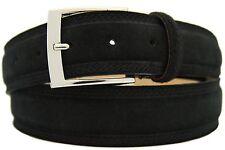 Italiana Pelle Scamosciata Cintura Uomo Donna SUEDE BELT NERO 4cm larga