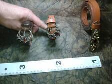 CINTURA PELLE 2 CM FIBBIA cuoio marrone artigianale vintage BELT BUCKLE ME8