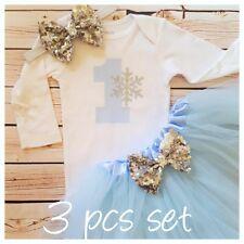 First birthday outfit,Frozen inspired tutu set,Winter Wonderland tutu set,baby