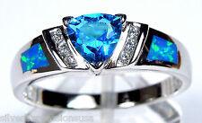Trllion Cut Blue Topaz & Blue Fire Opal Inlay 925 Sterling Silver Ring Sz 7 or 9