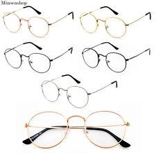 Oval Round Lens Slim Metal frame Clear lens Fashion Glasses Mens Ladies