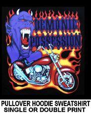 DEMONIC POSSESSION CHOPPER MOTORCYCLE DEMON BIKER SKULL HOODIE SWEATSHIRT AM1