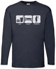 Eat Sleep Fishing Langarm T-Shirt Fun Fish Sea River Angler Rod and Line
