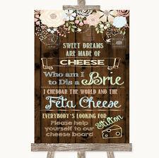 Rustique Floral Wood Cheese Board chanson Personnalisé Mariage Signe