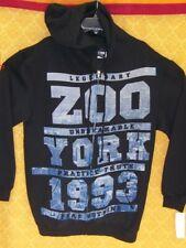 Zoo York Hoodie Sweatshirt Reißverschluss Schwarz Hoody Blau Plaid-Logo NEU NWT $48