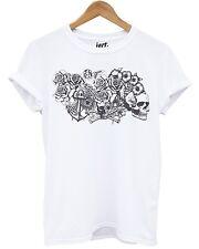 Cherub White T Shirt Skull Roses Cross Rosary Beads Emo Graphic Tattoo Design