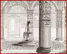 ITALIE FLORENCE FLORENCIA Cour du palais GRAVURE 1838