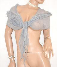 FOULARD seta stola donna ARGENTO sciarpetta velata elegante da cerimonia 40X
