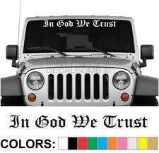 "In God We Trust ""Old English"" Windshield Decal Sticker Diesel Car Truck Jesus"