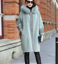 Women's Winter Outwear Fur Collar 100% Wool Hooded Coat Parka Pocket Overcoat