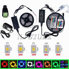 5M SMD 3528/5050/5630/7020 300LEDs RGB White LED Strip Light 12V Power Supply US