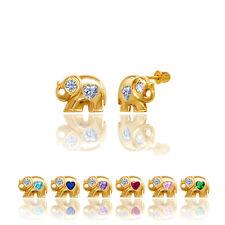 14kt Solid Gold Kids Elephant Screwback Stud Earrings