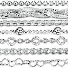 Amberta Bijoux Bracelet en Vrai Argent Sterling 925 Chaîne pour Femme à la Mode