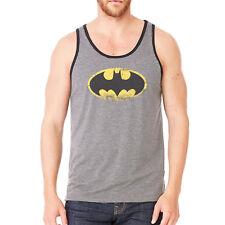 Official Batman Washed Logo Vest Sleeveless T Shirt Grey The Dark Knight S M L