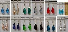 20mm Waterdrop Shiny Crystal Dangle Faceted Bead 925 Stamped Silver Hk Earrings