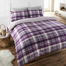 Purple Duvet Covers Flannelette Brushed Cotton Tartan Checked Quilt Bedding Sets