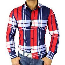 GOLDEN HORN Herren Karo-Hemd Slim Fit Poloshirt Hemd Kariert Rot/Blau/Weiß 582