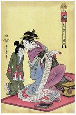Japanese POSTER.Geisha Fashion.Gossip.Asian art Decor.Japan Woodblock print.130i