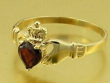 R148 Genuine 9ct or 18K Gold Natural Garnet Claddagh Ring Friendship Love
