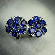 Natural Vivid Blue Sapphires 925 Sterling silver/ 9ct 14k 18k Gold earrings