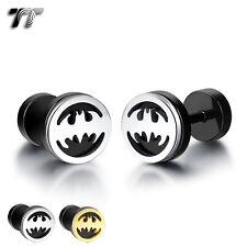 TT 8mm Stainless Steel Batman Fake Ear Plug Earrings (BE211) NEW