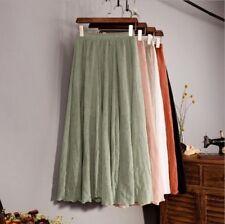Womens Ladies Skirt Linen Cotton Long Elastic Waist Maxi Beach Boho Skirts UK