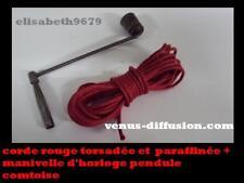 cle clef manivelle + corde Rouge d' horloge pendule comtoise N°13