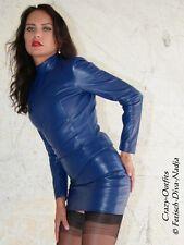 Lederrock Leder Rock Blau Mini Hüftrock Größe 32 - 58 XS - XXXL