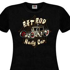 T-shirt femme RAT ROD - Nasty Car - HOT ROD Kustom Kulture Custom Rat Fink V8