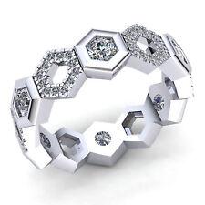 Real 1.5ctw Round Cut Diamond Ladies Alternating Haxagon Eternity Band 10K Gold