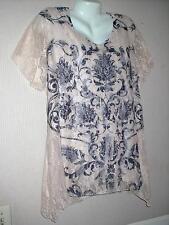 Plus 1X 2X 3X LACE Top STRETCH Shirt LINED Blouse RHINESTONE asymmetrical
