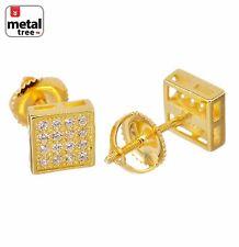 Women's Men's Lab Diamond Micro Pave 6 mm Flat Block Screw Back Stud Earrings