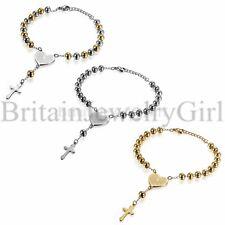 Mens Women Beaded Stainless Steel Rosary Chain Heart Prayer Cross Bracelet Link