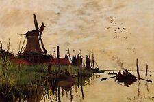 "Windmill At Zaandam Monet Giclee Reproduction Art Print Sizes 4 x 6""-16 x 24"""