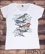 Femmes coloré Quatre Branche Oiseaux imprimé Impression Animal T-Shirt C22-1