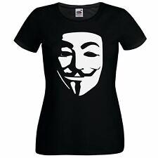 Ladies Black Anonymous Hacker CyberPunk T-Shirt Hacktivist Guy Fawks Vendetta