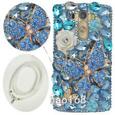Jewelled Rhinestone Bling Crystal Blue Diamond butterfly Soft TPU Case & Strap
