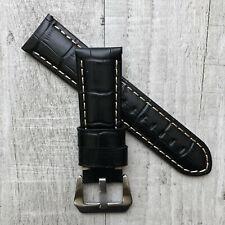 Pour Officine Panerai Pam Luminor Marina 22mm Noir Croc Cuir Bracelet de Montre