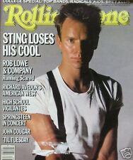 STING  9/26/85 Rolling Stone  ROB LOWE   JOHN COUGAR