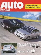 Opel Vectra GTS 3.2 V6 Audi A4 3.0 Test Sonderdruck Auto Zeitung 22/02 2002 PKWs