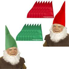 7 x  Bärte oder 7 x Zwergenmützen für Zwerge ROT o. GRÜN Gnome Mütze Erwachsene