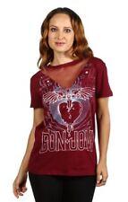 Bon Jovi Junior Ladies Burgandy Short Sleeve Graphic Rock Music Band Top Shirt
