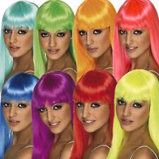 Parrucca Donna Lunga Neon Blu Viola Rosso Gay Pride 80s Nubilato Accessorio Smiffys