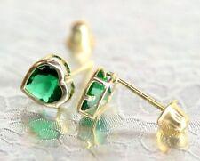 14K Solid Yellow Gold Heart Bithstone Stud Earrings