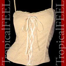 USA MADE NEW Womens BEIGE CREAM LACE CORSET SPAGHETTI Strap Cami Camisole TOP