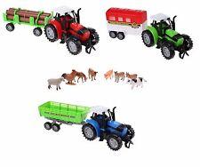GRANDE Bambini Trattore Da Fattoria con animali da fattoria fattoria di apprendimento per bambini Set 36CM Playset