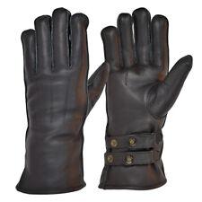 Goldtop Merino Wool Black Leather Cafe Racer Vintage Style Motorcycle Gloves